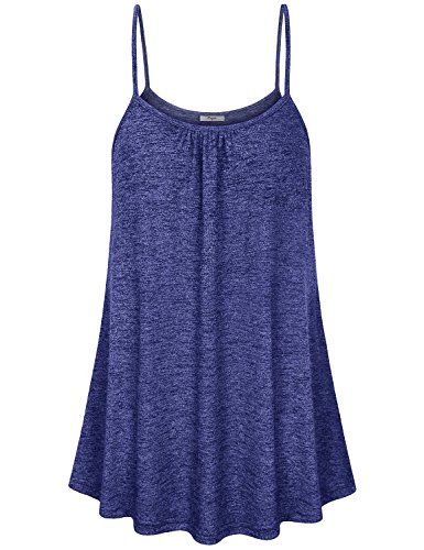 Tunic Doll Tank Baby (Cestyle Flowy Camisole for Women,Girls Scoop Neck Pleated Front Flare Hemline Long Tunic Tanks 2018 Prime Baby Doll Tops Blue Marble Medium)