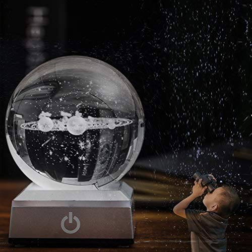 """Solar System Crystal Ball 80mm 3.15"""" with the 3D Laser Engraved Sphere with Light Up Cosmic Model Name of Planet Kit for Office Decoration"""