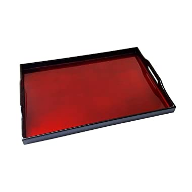 Large 16.5  Long Red Handmade Wooden Lacquer Serving Tray (4674)