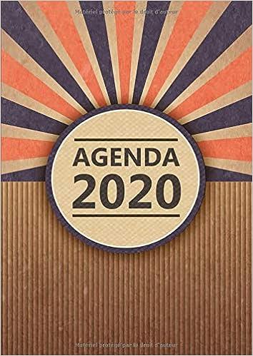 Calendrier Decembre 2018 Janvier 2021 Agenda: Semainier   Grand Format A4   Vintage Carton Bleu Orange