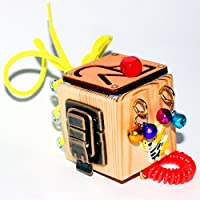 Travel Busy Fidget Cube - Educational Activity Toy For Toddlers - Montessori Sensory Game For Boys And Girls - Wooden Kids Toy - Locks And Latches Game - Children's Fine Motor Skills Development Board