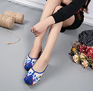 LTQ&QING new-Chaussures brod¨¦es, semelle tendineuse, style ethnique, flip flop f¨¦minin, mode, confortable, sandales d¨¦contract¨¦es, blue, 37