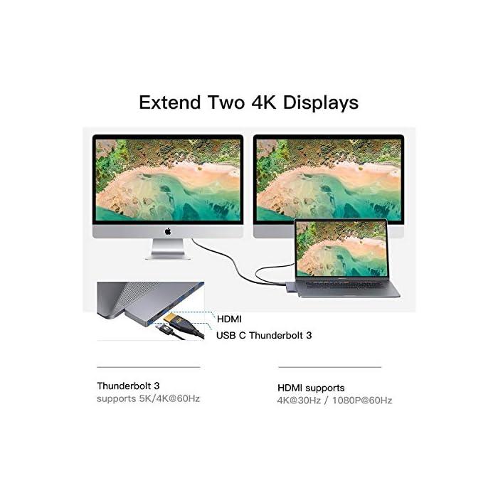 51g7 O7 LOL Haz clic aquí para comprobar si este producto es compatible con tu modelo 【Especialmente para MacBook Pro】: USB C Hub con puertos DUAL tipo C, Compatible con MacBook Pro 2019/2018/2017, 13 pulgadas y 15 pulgadas, Macbook Air 2018/2019; El adaptador C USB con Thunderbolt 3 le permite simultáneamente la carga y transferencia de datos para MacBook Pro. 【4K HDMI & Thunderbolt 3】: Admite la conexión simultánea de dos pantallas y puede mostrar dos pantallas diferentes. Con la salida 4K HDMI, puede reflejar o ampliar la pantalla de su MacBook en su televisor, monitor o proyector. El puerto superior es Thunderbolt 3, Transferencia de datos y video soporta máx 40Gb / s, 87W de potencia PD y 5K UTRHD.