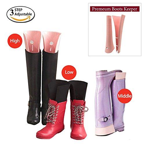 HARRA Premium Boots Shaper 3step Adjustable Boot Shape Keeper, Shoes Rack Organizer boot shaper, Pack of 1, (Pink) - Birch Wide Cabinet