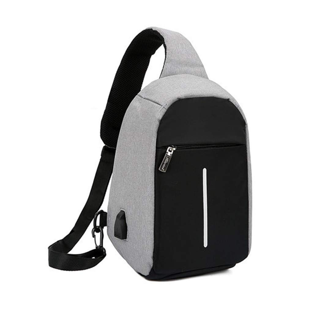 USB Charge Anti Theft Chest Bag Mens Waterproof Travel Shoulder Bags Messenger Bags Money Phone Sling Bag Gray