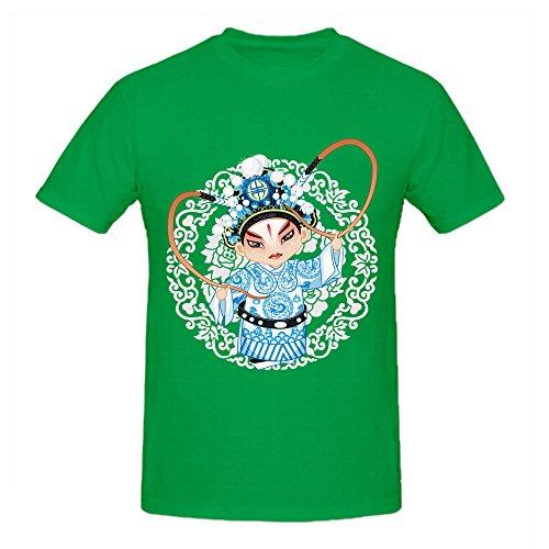 100% Cotton Mens Summer Fashion Black DIY Tops Tees Short Sleeve T Shirt Man Chinese Opera Sheng O Neck Casual T Shirt