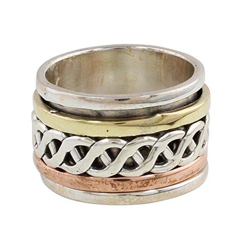 NOVICA .925 Sterling Silver Copper Brass Tri-Metal Meditation Spinner Ring 'Spinning Braid' (Celtic Braid Ring)