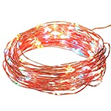 NEWSTYLE 33Ft 10M Copper LED Lights Strings 100 LEDs on Copper Wire 33ft LED Starry Light with 12v Power Adapter For Christmas Wedding and Party (RGB)