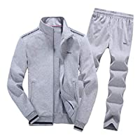 coloing Men 2019 Spring Autumn Comfortable Warm Running Sport Suit Large Size L-8XL 2 Me(Gray 7XL)