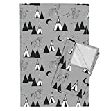 Roostery Teepee Tipi Constellations Grey Nursery Southwest Tea Towels Grey Constellations Tipi by Andrea Lauren Set of 2 Linen Cotton Tea Towels