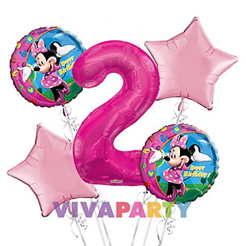 Minnie Mouse Balloon Bouquet 2nd Birthday 5 Pcs