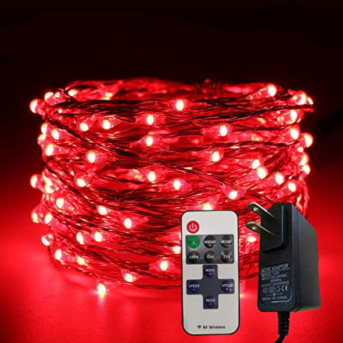 (❤Lemoning❤ 5m 50LED Control Light String Decorative Bedroom Garden Yard Parties String Ligh (Red))