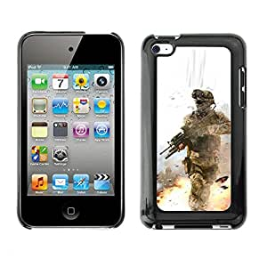 Soft Silicone Rubber Case Hard Cover Protective Accessory Compatible with Apple IPod Touch 4 - Soldier Battle Field