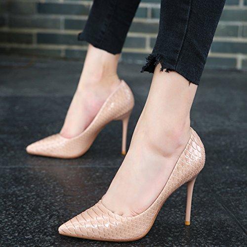 pelle in colore bella Apricot la nuova e Sexy della la da alti texture scarpe Bare punta Light autunno tacchi donna Fashion con singolo scarpe KPHY E4OqXnw