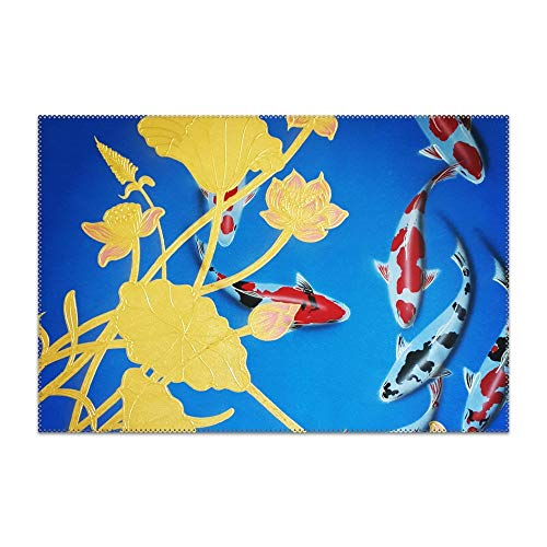 YLJH Flower Koi Fish Placemat for Dining Table Heat Resistant Wipeable Non-Slip ()