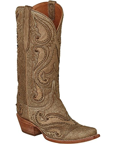Lucchese Women's Handmade Natural Lyla Calf Hair Cowgirl Boot Snip Toe Natural 8 M US - Lucchese Natural