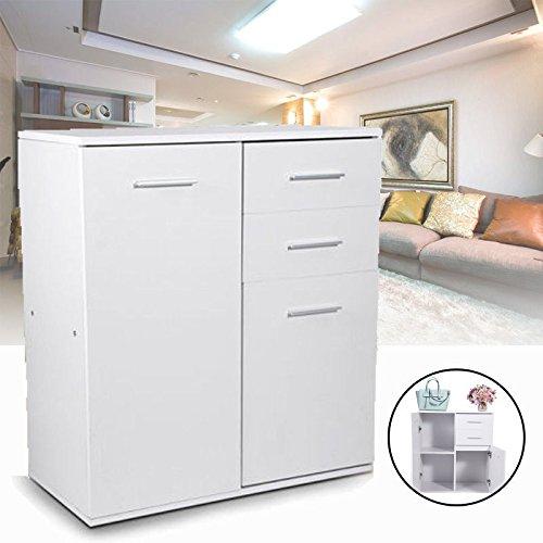 Yosoo Cassettiera Scaffaletto multiuso Cassettone Armadietto da  bagno,Mobile alto da cucina ,2 porte e 2 cassetti ,Bianco,66x33x73.5cm