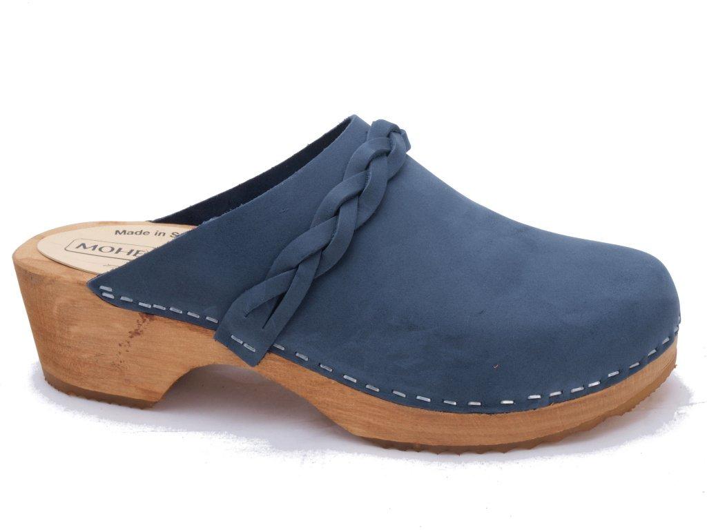 Original Zuecos de suecia - Cuero nobuck en varios colores 41 EU|Azul (Marina)