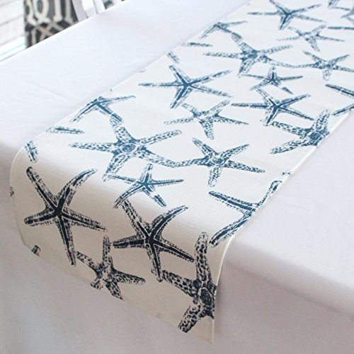 12x72 inches Navy and white starfish nautical wedding table runner baby shower beach decor by Cayson Décor