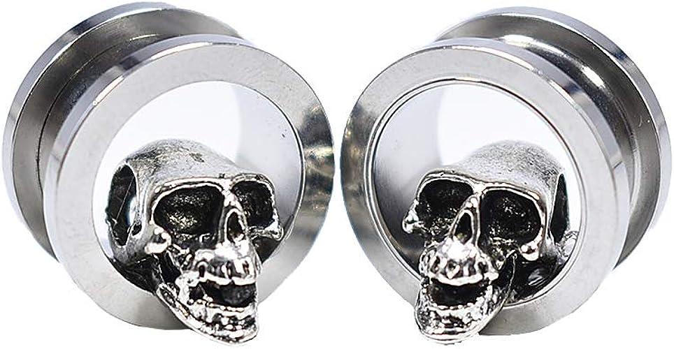 "PAIR-3D Skulls Acrylic Double Flare Ear Plugs 20mm//13//16/"" Gauge Body Jewelry"