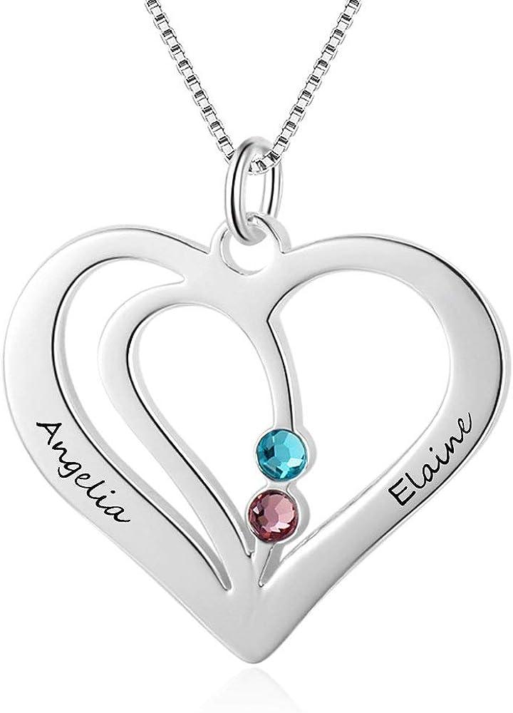 Grand Made Promesa Personalizada Collar de corazón con 2 Piedras Preciosas simuladas Collar para Pareja Collar con Nombre Personalizado Collar con Piedras Preciosas Joyas de San Valenti