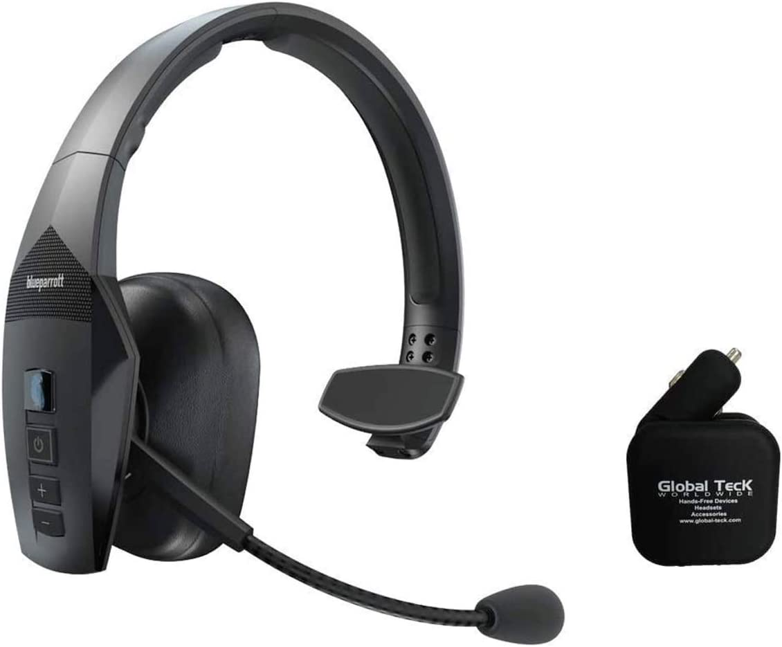 BlueParrott B550-XT Bluetooth Headset Bundle 204165-C | Includes 2 USB Port Car/Wall Charger | Streaming Music, and NFC Ready | 100% Voice-Controlled Headset | Water and Dust Resistant - IP54 Rated