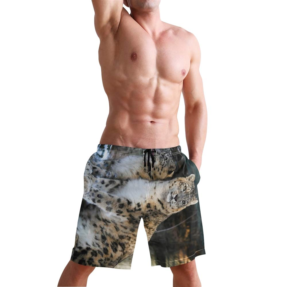 Vicoci Mens Snow Leopards Swimming Trunk Surf Shorts Beach Swimsuits