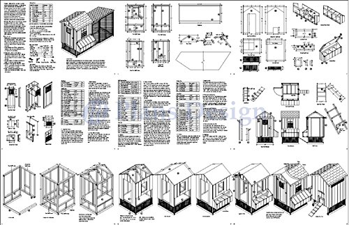 Backyard Chicken Coop Plans with Kennel / Run, Gable / Lean-to 4 ft x 10 ft Two-in-One Plans, Design 60410GL