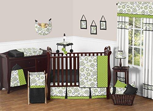 Spirodot Lime and Black Gender Neutral Baby Bedding 11 pc Bo