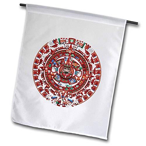 3dRose Macdonald Creative Studios - Mexico - The Ancient Sun Mayan Calendar from pre-Columbian Mexico. - 18 x 27 inch Garden Flag (fl_295602_2) ()