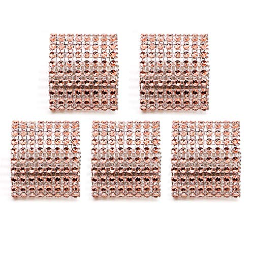 HUELE 50 Pcs Rhinestone Napkin Rings Holders for DIY Wedding Party Decoration Champagne by HUELE