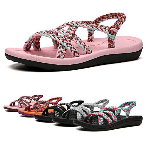 EAST LANDER Women's Comfortable Flat Walking Sandals with Arch Support Waterproof for Walking/Hiking/Travel/Wedding/Water Spot/Beach.18ZDKDEA01-W10-7 BD