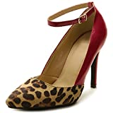 Ollio Women's Winter Leopard Two-Tone Ankle Band High Heel Shoe Pump (5.5 B(M) US, Dark Red)