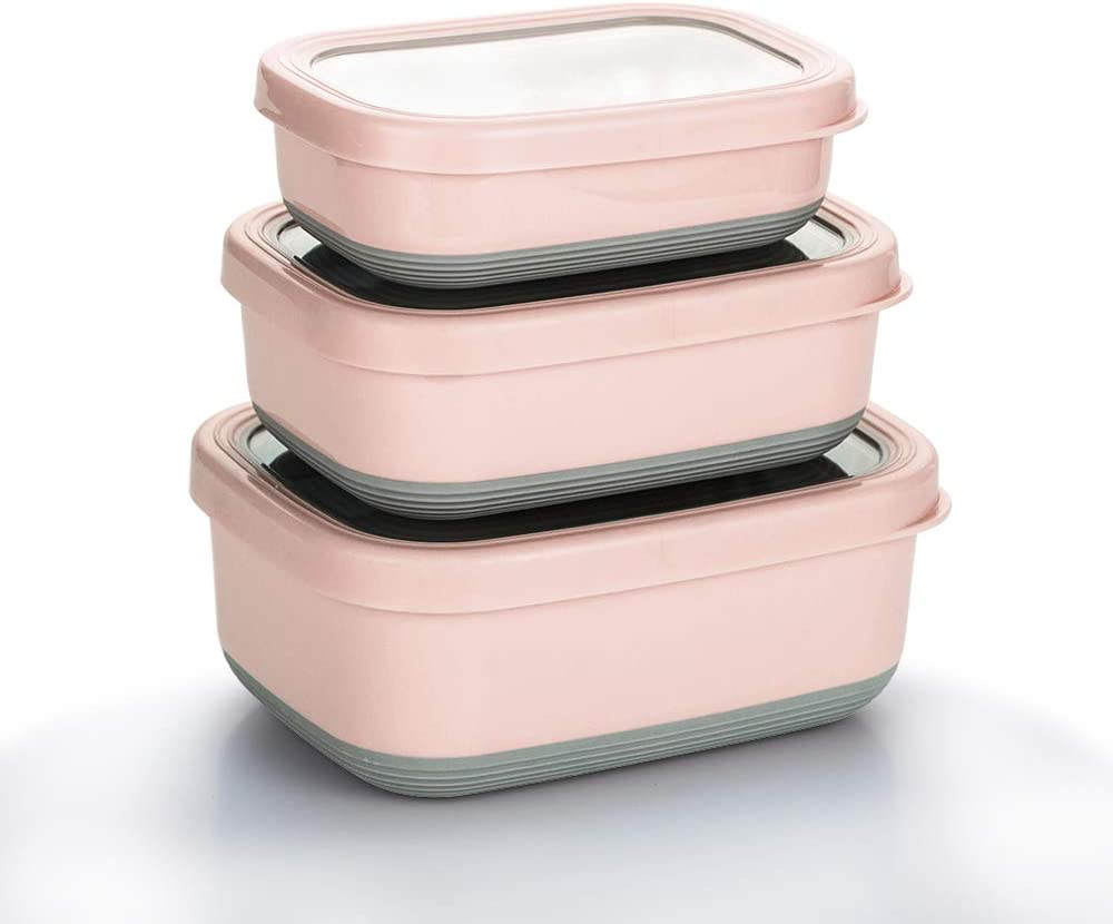 Lille Home Premium Stainless Steel Food Containers/Bento Lunch Box With Non-Slip Exterior | Set of 3, 470ml, 900ml,1.4L | Leakproof | BPA Free | Portion Control (pink)