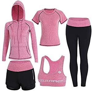 Onlyso Women's 5pcs Sport Suits Fitness Yoga Running Athletic Tracksuits 18