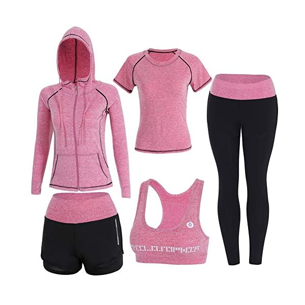 Onlyso Women's 5pcs Sport Suits Fitness Yoga Running Athletic Tracksuits 14