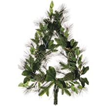 Silk Plants Direct Magnolia Leaf, Pine and Pine Cone Christmas Tree Wreath (Pack of 1)