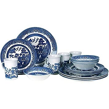 Churchill Blue Willow 16-piece Earthen Dinnerware Set Service for 4 Kitchenware Dishes Tableware by  sc 1 st  Amazon.com & Amazon.com | Churchill Blue Willow 16-piece Earthen Dinnerware Set ...