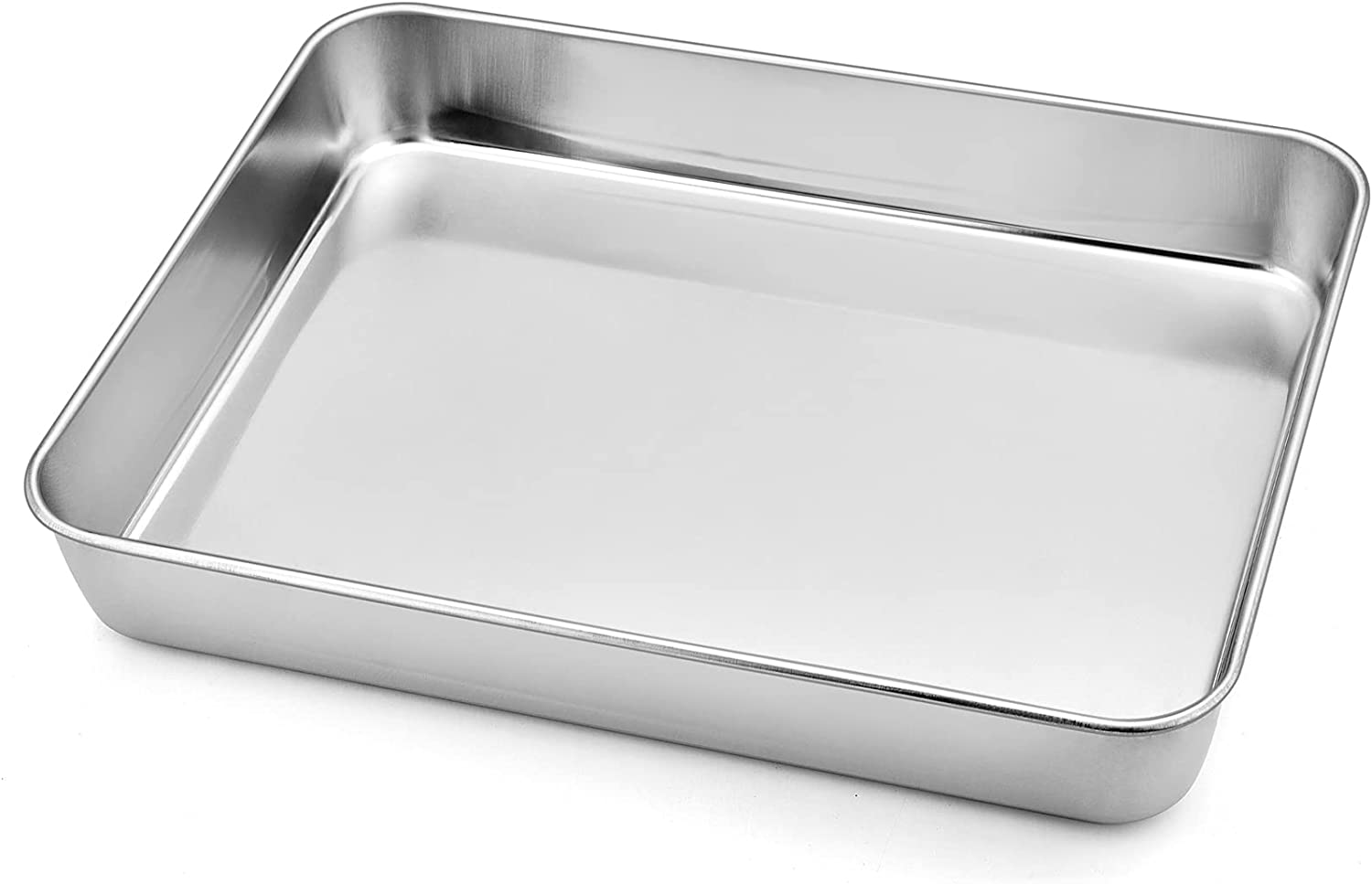 """Deep Toaster Oven Tray Pan, P&P CHEF Stainless Steel Small Rectangular Baking Pan, Size 9.3""""x7""""x1.75"""", Brush Finished & Easy Clean, Non Toxic & Heavy Duty"""