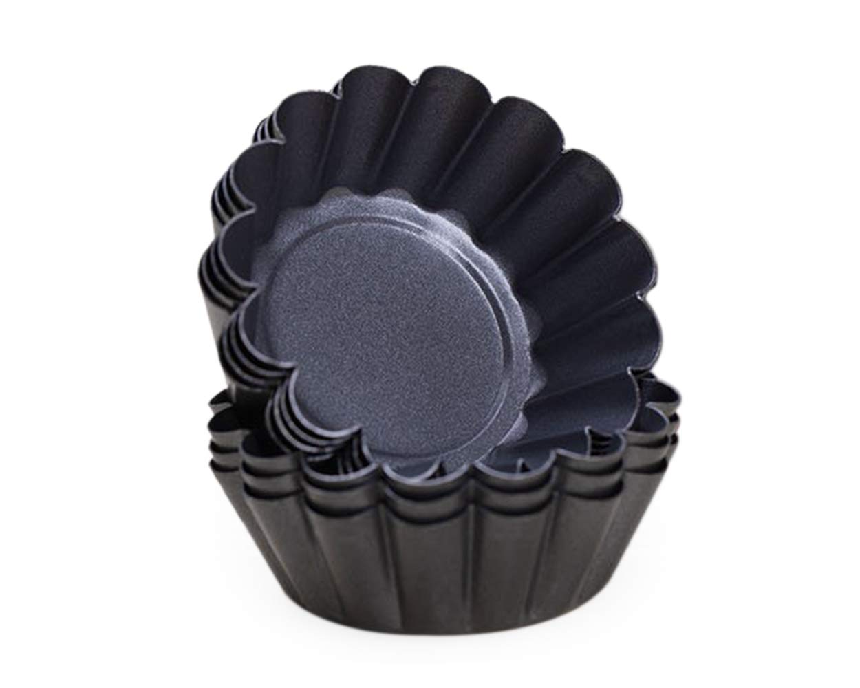 SCSpecial 6.5cm Non-Stick T/örtchenform Mini Taartpannen Set van 12 Stuks Individu Ronde Muffin bakvorm Bakvormen Schwarz DIY Verdickte Eierkuchenform