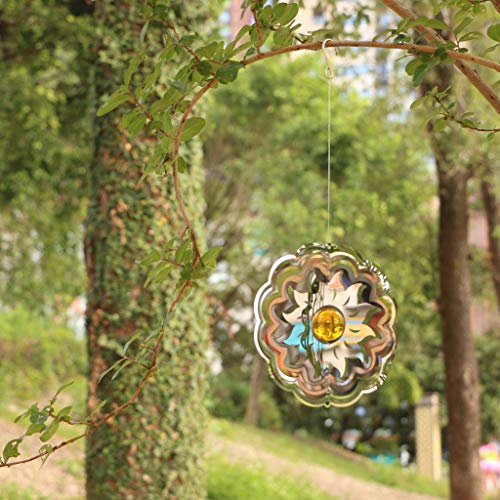 Tonxus Sun Garden Wind Spinner Outdoor 3D Hanging Wind Spinners Stainless Steel Metal Twisting Decor for Patio, Deck or Yard