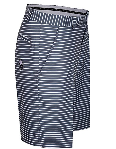 Tattoo Golf Striped ProCool Men's Golf Shorts - Grey/White - (Tattoo Golf)