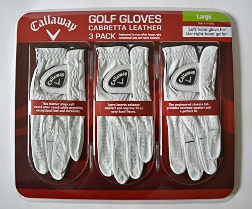4 Wholesale Lots 3 Pack Callaway Cabretta Leather Golf Gloves Size Large, 12 Golf Gloves Total by SSW Wholesalers (Image #1)