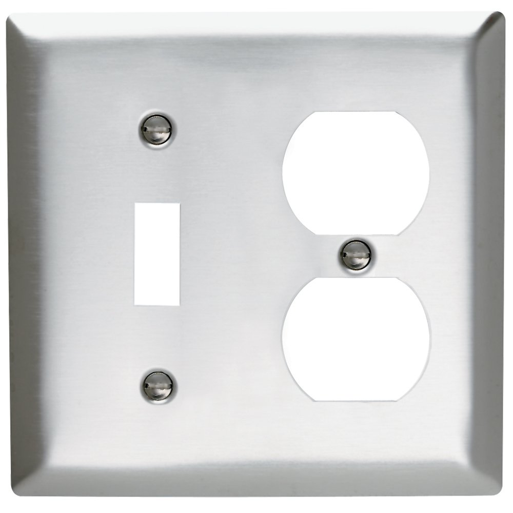 Legrand - Pass & Seymour SL18CC10 Wall Plate Stainless Steel 430 Two Gang Single Toggle Single Duplex No Line
