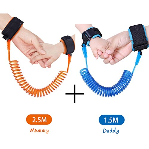 KPACO Baby Child Anti Lost Safety Wrist Link Harness Strap Safe Skin Friendly Rope Leash Walking Hand Belt Band Wristband Wrist Link for Toddlers, Babies and Kids (4.9ft Blue + - Singapore Swimming Gear