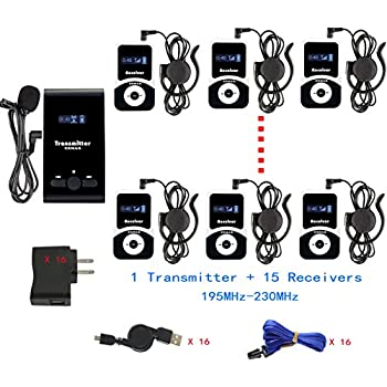 1 Transmitter 5 Receivers with 16-ports USB Charger Base EXMAX ATG-100T 195-230MHz Wireless Tour Guide Monitoring System Microphone Earphone Headset for Church Interpreting lecture corporate meeting