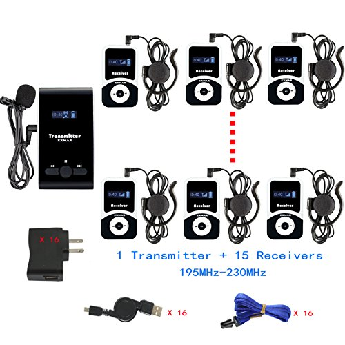 Exhibit System - EXMAX ATG-100T 195-230MHz Wireless Tour Guide Monitoring System Microphone Earphone Headset for Church Tour Exhibit Guide Church Travel(1 Transmitter 15 Receivers)