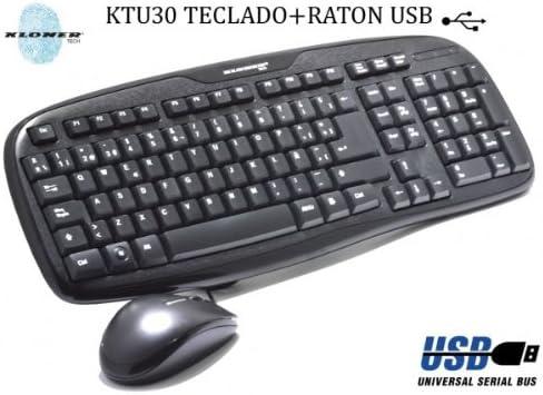 Kloner KTU30 - Pack de Teclado y ratón USB, Negro