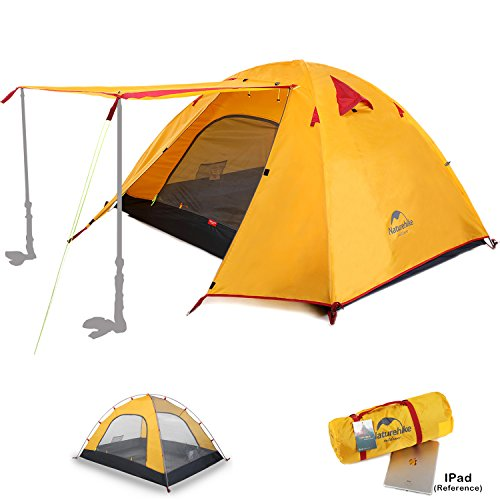 Naturehike 2 3 4 Person 3 Season Backpacking Tents for Camping, Ultralight Waterproof Vestibule Awning Two Doors Double Layer with Aluminum Rods for Family Beach Hunting Hiking (Orange, 4 Person)