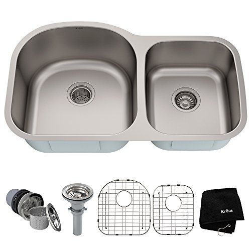 - Kraus KBU27 35 inch Undermount 60/40 Double Bowl 16 gauge Stainless Steel Kitchen Sink